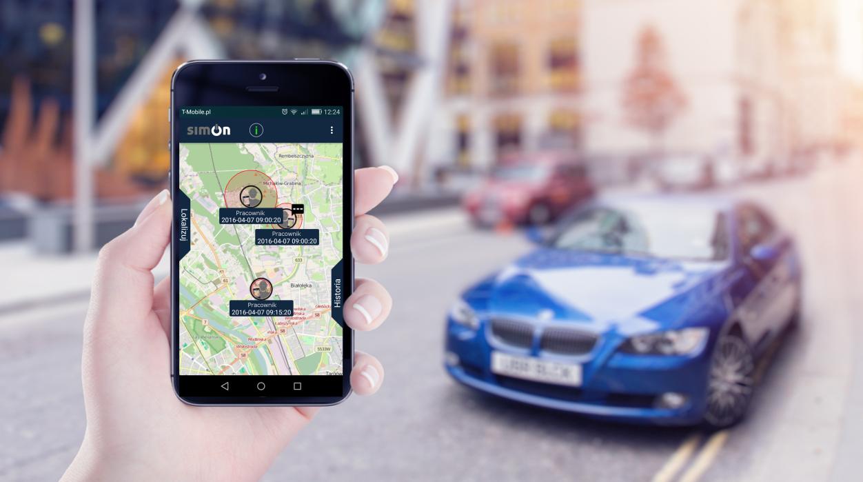 mobileOn simon aplikacja samochód